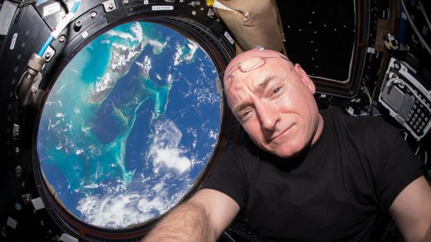 Astronaut Scott Kelly in space