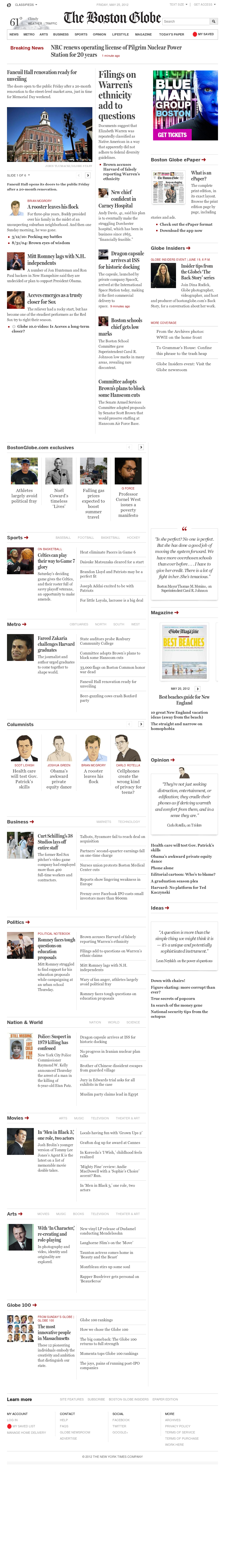 The Boston Globe at Friday May 25, 2012, 4:02 p.m. UTC