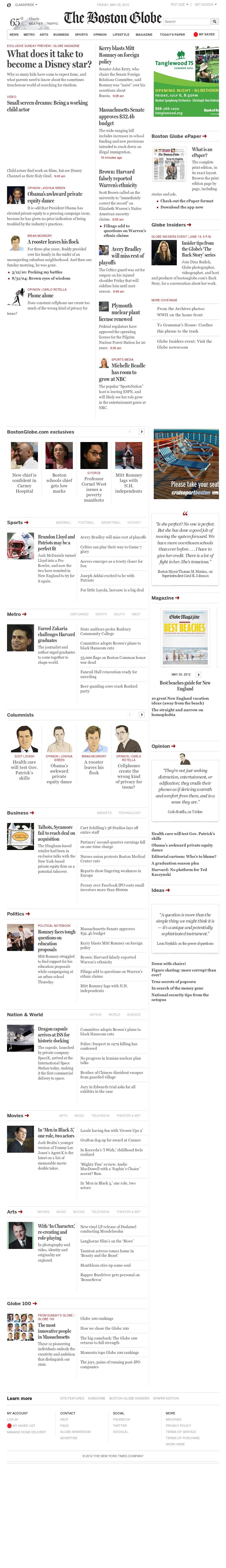 The Boston Globe at Friday May 25, 2012, 6:02 p.m. UTC