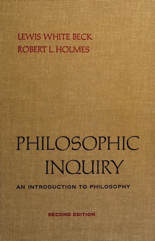 Philosophic inquiry by Lewis White Beck